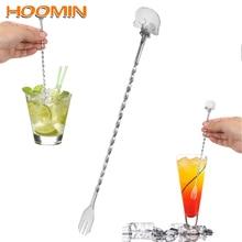HOOMIN 25 см шпажка для коктейля доска с черепами ложка барная ложка для перемешивания вилка бармен Нержавеющая сталь соломинка для помешивания