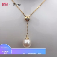Sinya 18k Au750 gold necklace inlay 0.023ct real Diamond with 9mm natural pearls Y style necklace for women girls fine jewelry