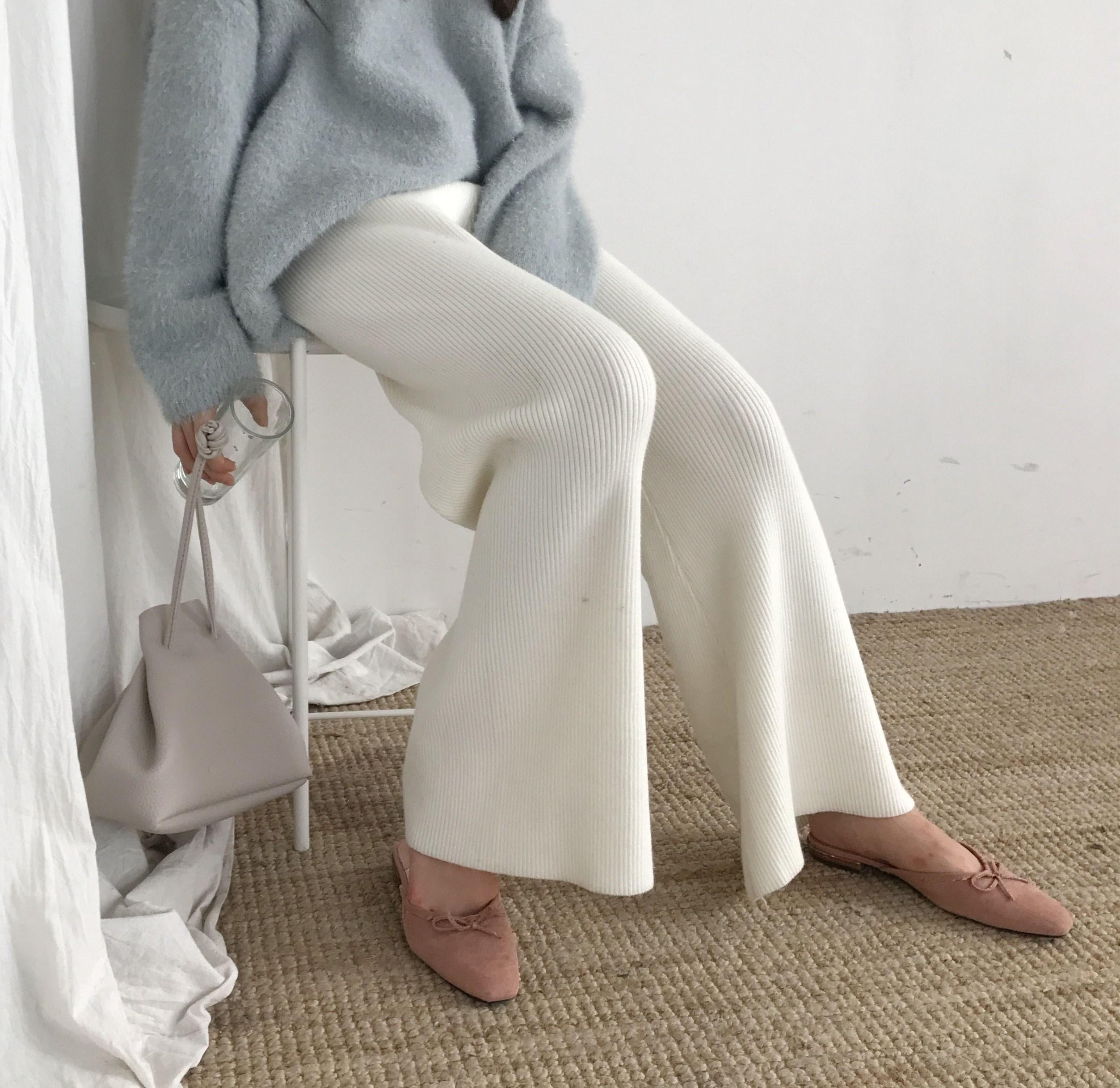 Autumn Winter Warm Jersey Knit Wide Leg Trousers Women High Waist   Pants   femme Casual   Pants   pantalon