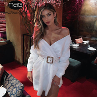 NewAsia Off Shoulder Sexy Dress Women Summer 2019 Long Puff Sleeves Ornate Belt Party Dress White Casual Mini Wrap Dress Beige