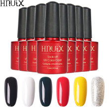 HNUIX 7.3ML Gel Nail Polish UV Black White Red Soak Off Gel Polish Gel Lacquer Nail Art Polish Semi Permanent ibd белый гелевый лак для дизайна с тонкой кистью 56954 ibd just gel polish white gel art polish w gel brush 19405 14 мл