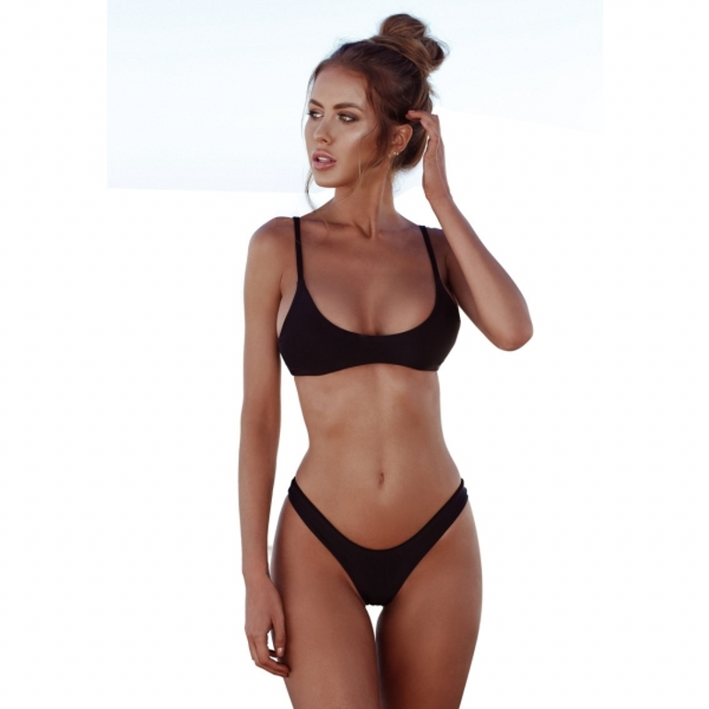 Swimwear Women Push Up Bathing Suit Brazilian Solid Color Triangle Swimsuit Concise Summer Beach Swimming Bikini Set Biquini