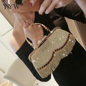 Image 2 - Steentjes Kwastje Clutch Bag Vrouwen Gold Fashion Party Wedding Handtas En Portemonnee Avondtassen Kralen Metalen Luxe Elegante Tas