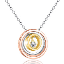 Silikolove Fashion Multicolor Geometric Circle Pendant Necklace Simple Three-Loop Interlocking Clavicle Chain Choker