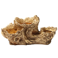 Handcrafted Artificial Driftwood Simulation Tree Root Resin Succulent Plants Pot Container Decorative Garden Pots No Plants