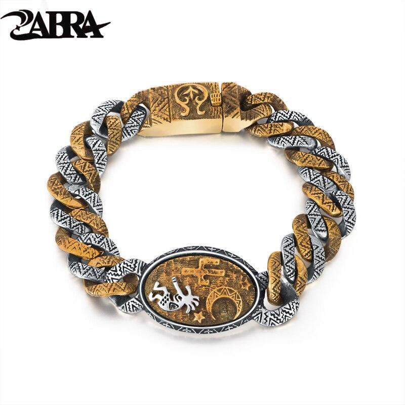 Real Pure 925 Sterling Silver Bracelet For Men Retro Indian Stamp Vintage Domineering Bracelet Men Cool
