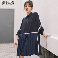 SuperAen 2019 Spring and Summer New Women's Dress Europe Long Sleeve Ladies Pleated Dress Fashion Casual Women Clothing