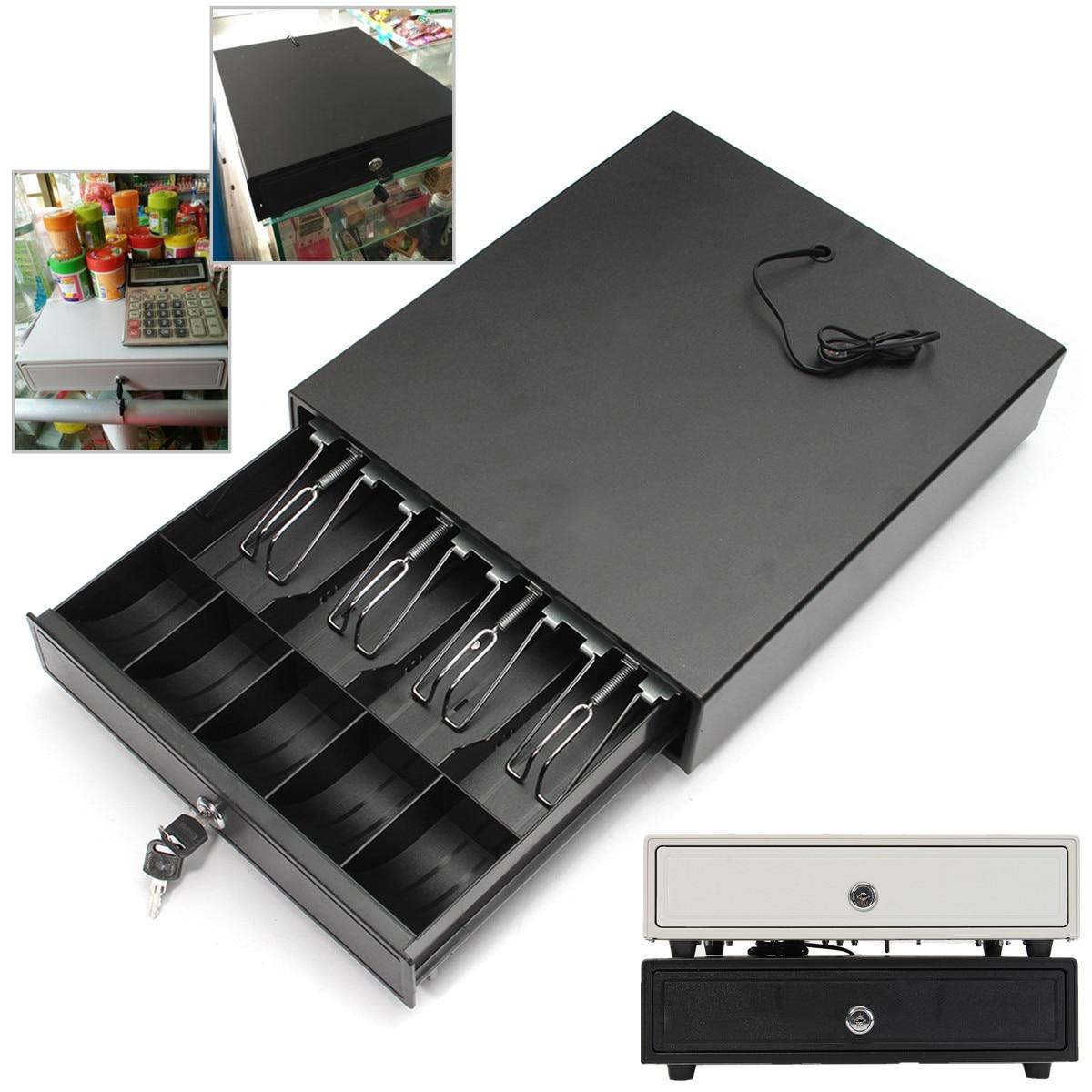 Boîte à tiroir-caisse lourde avec 4 plateaux à pièces de monnaie, 5 plateaux, RJ-11, serrure à clé, blanc/noir, amovible, 4 billets, 5 pièces, tiroir-caisse