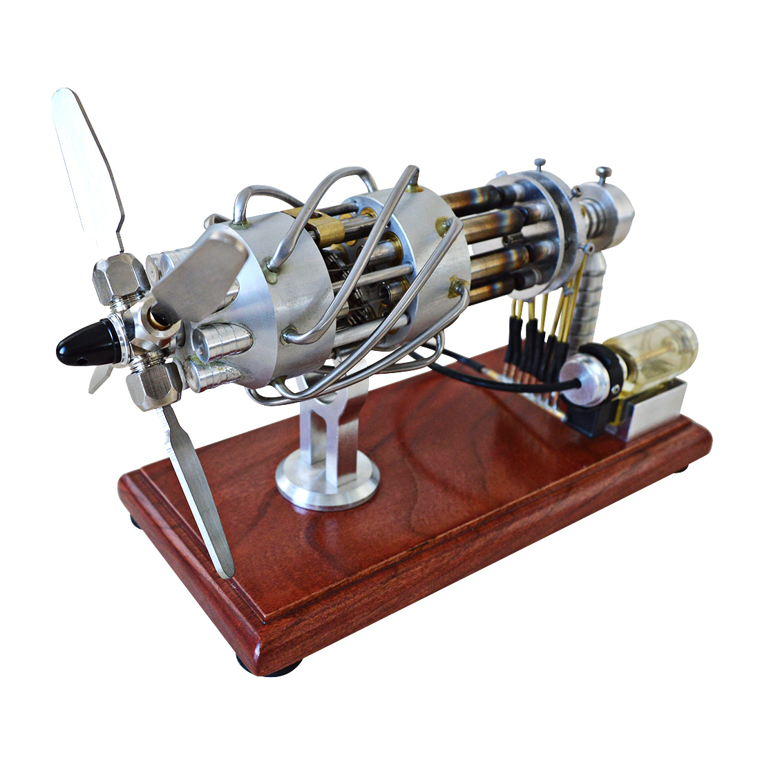 Hot Air Stirling Engine Motor Model 16 Cylinders Swash Plate Physics Educational Toys For Kids Scientific Gift Toys 2018-Silver
