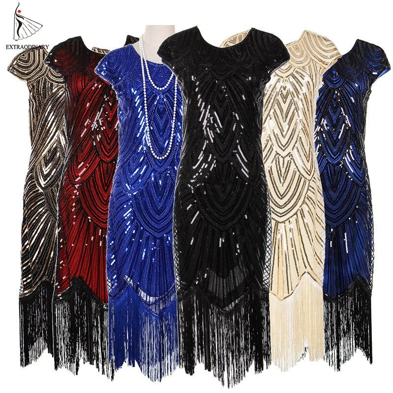 Womens 1920s Vintage Flapper Great Gatsby Party Dress V Neck Sleeve Sequin Fringe Midi Dresses Summer Art Deco Embellished