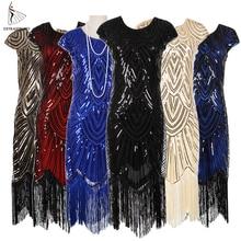 Damska 1920s Vintage Flapper Great Gatsby Party Dress dekolt w serek cekiny Fringe sukienki Midi letnia sztuka Deco zdobione