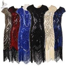 Frauen 1920s Vintage Flapper Great Gatsby Party Kleid V ausschnitt Ärmel Pailletten Fringe Midi Kleider Sommer Art Deco Verziert