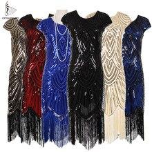 02cb02e382 Kobiet 1920 s Vintage klapy wielki Gatsby sukienka na imprezę z dekoltem w  kształcie litery v z długim rękawem cekiny frędzle su.