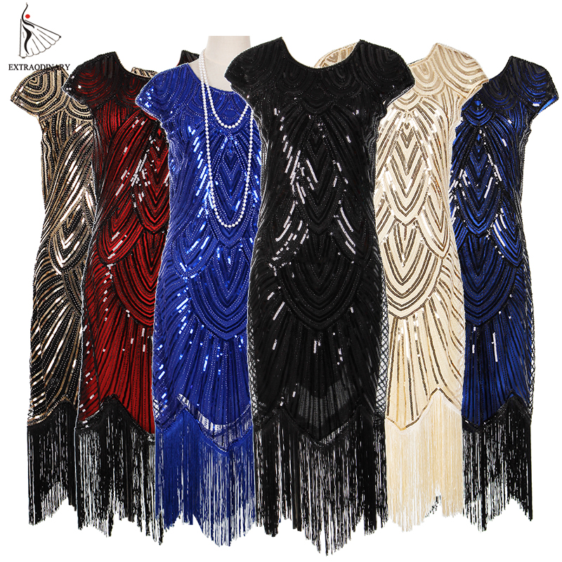 Womens 1920s Vintage Flapper Great Gatsby Party Dress V-Neck Sleeve Sequin Fringe Midi Dresses Summer Art Deco Embellished