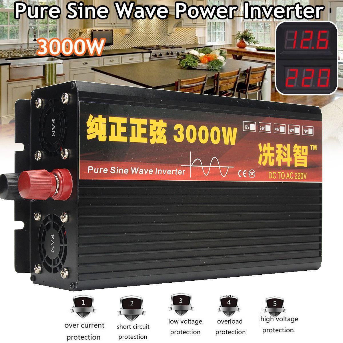 Inverter 12V/24V 220V 2000/3000/4000W Voltage transformer Pure Sine Wave Power Inverter DC12V to AC 220V Converter+2 LED DisplayInverter 12V/24V 220V 2000/3000/4000W Voltage transformer Pure Sine Wave Power Inverter DC12V to AC 220V Converter+2 LED Display