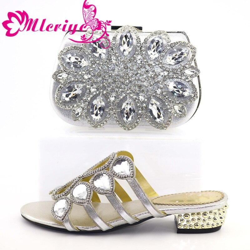 Nouveauté été chaussures à talons bas pour femmes femmes chaussures et sacs à assortir ensemble italie nigérian femmes chaussures de mariage/sac ensemble 2335