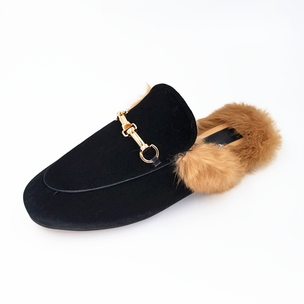 Brand Designer Cord Metal Chain Woman Slides Slip On Loafers Mules Flip Flops From Genuine Leather Real Fuzzy Real Fur Slippers