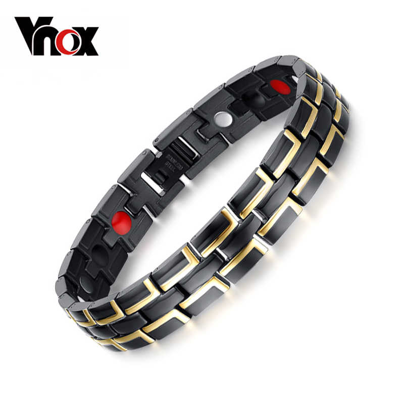 VNOX Bio Elements Energy Magnetic Bracelet Men Jewelry Stainless Steel Chain Adjustable Length