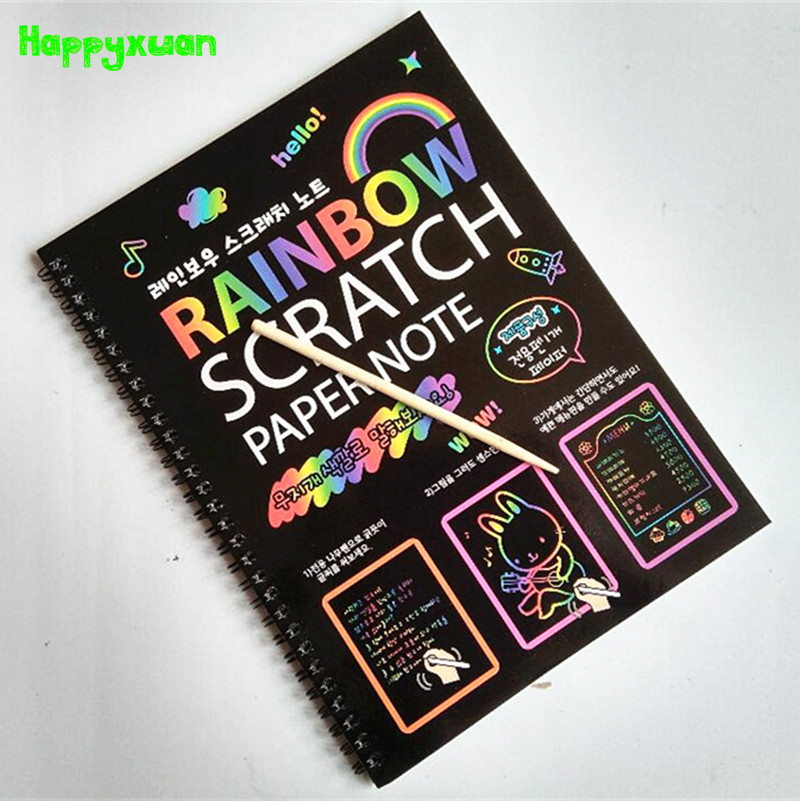 Happyxuan 19 26cm Large Magic Color Rainbow Scratch Paper Note book Black DIY Drawing Toys Scraping