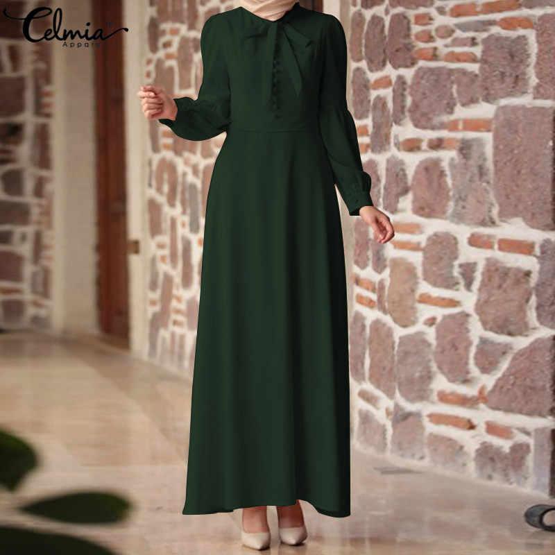 5ff04e2f9f Celmia Women Elegant Maxi Dress 2019 Female Long Sleeve Tie Bow Casual  Party Formal Vestidos With