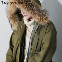 TVVOVVIN 2019 New Autumn Winter Fur Hooded Army Green Sequins Split Joint Large Size Cotton padded Coat Women Parkas L032