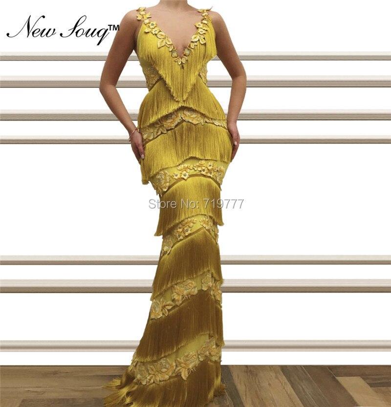 2019 New Arrival Tassel Applique Evening Dresses Robe De Soiree Mermaid Arabic Prom Dress Celebrity Party Gowns Abendkleider