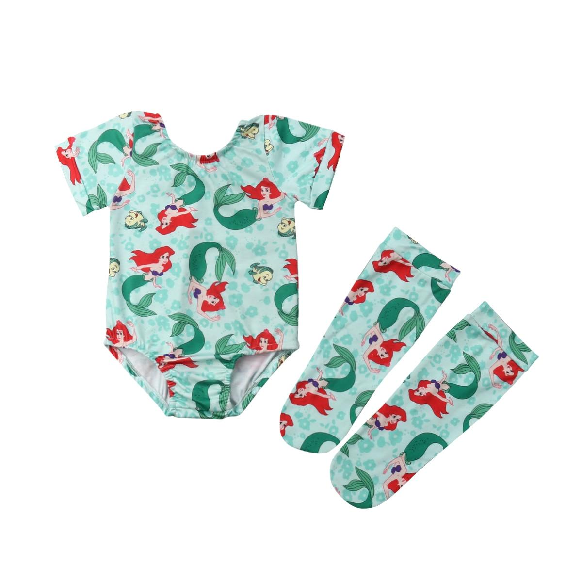 Newborn Baby Girls Mermaid Princess   Romper   Long Sleeve Jumpsuit+ Warm Legging Outfit Set