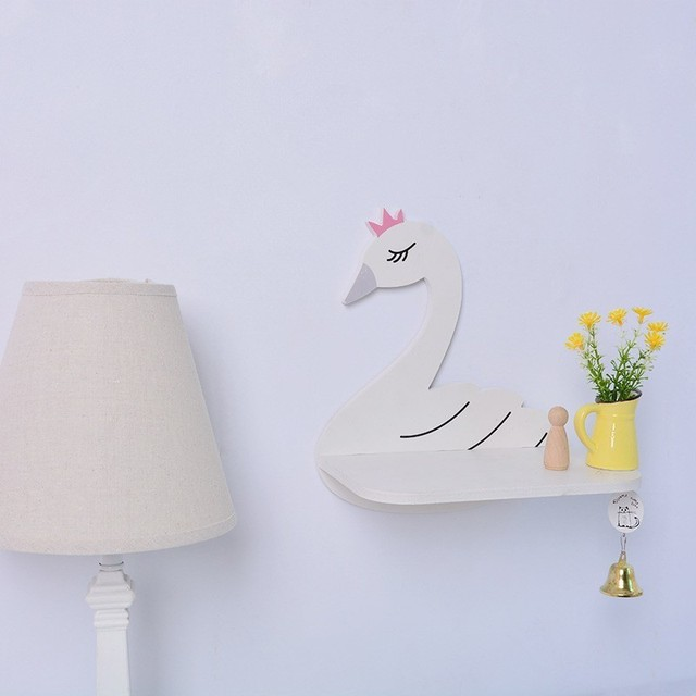 1pc / White Swan Wall Mount Practical Storage Wall Frame Home Bedroom Decoration Bed Home Decoration New Arrivals