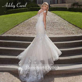 Ashley Carol Fashion Scoop Cap Sleeve Sexy Mermaid Wedding Dresses 2019 Lace Trumpet Bridal Dress Romantic Vintage Wedding Gowns