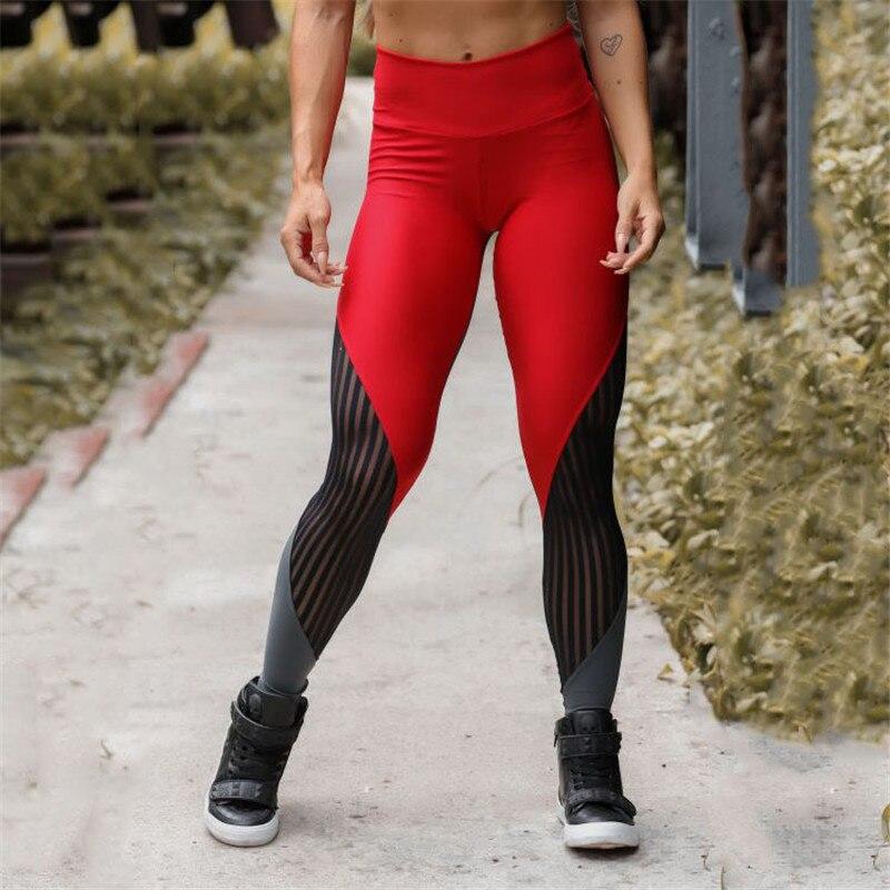 SVOKOR Women's Leggings Fashion High Waist Mesh Stitching Fitness Bodybuilding Pants Slim Stretch Running Leggings Women