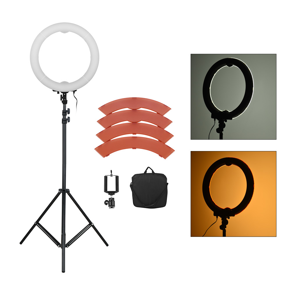LED Video Ring Light 360LED Bead Selfie Lamp Photography Studio Fill-in Light Adjustable Brightness with Color Filters Carry Bag
