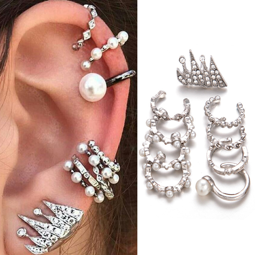 9pcs/set Punk Simulated Pearl Crystal Clip Earrings for Women Bohemian Silver Color Ear Cuff Brincos Fashion Geometry Jewelry(China)