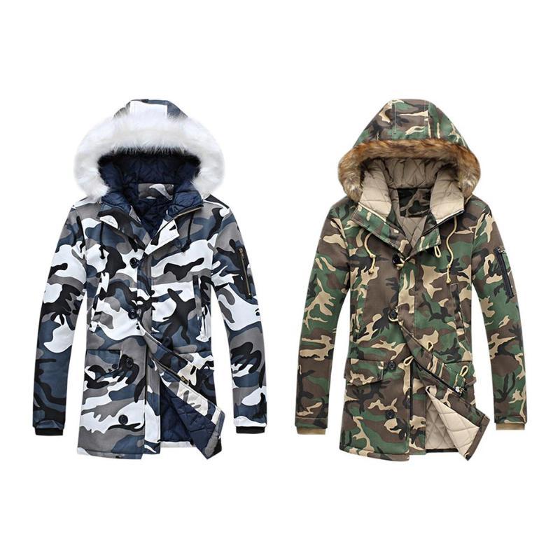 Men Winter Thicken Coats Warm Camo Print Parkas Zipper Hooded Long Jackets