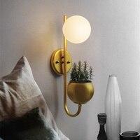 BOCHSBC White Glass Ball Flower Vase Plant Wall Lamp E27 110V 240V Loft Lighting Industrial Lamps Black Gold Body Color Light