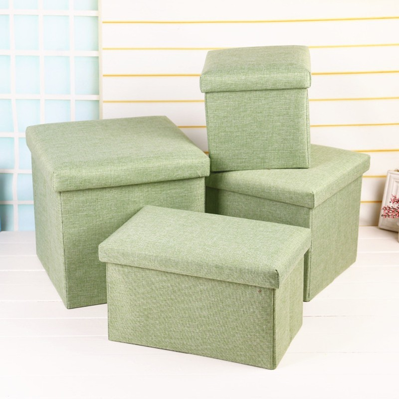 Folding Clothes Books Storage Box Ottoman Bench with Lift Top Multi functional Cotton Linen Foot Stool Seat Storage Chair