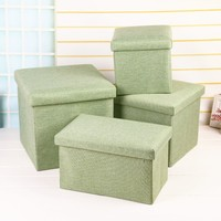 Folding Clothes Storage Box Ottoman Bench With Lift Top Caja De Almacenamiento Cotton Linen Foot Stool Seat Storage Chair