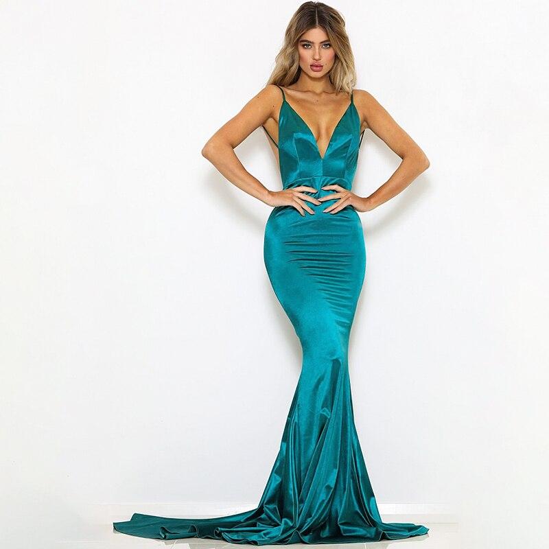 V Neck Backless Mermaid Long Dresses Sexy Elegant Party Dress 1