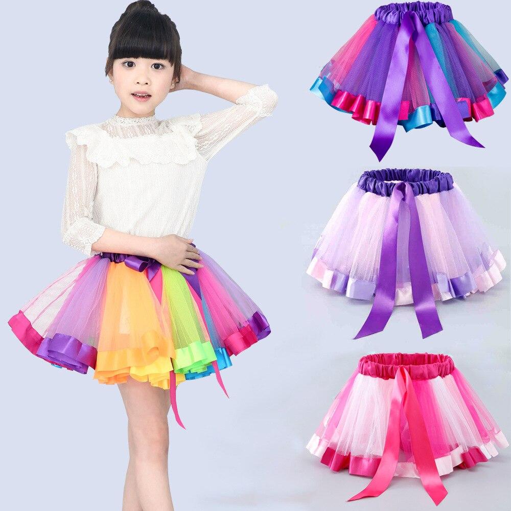 Infantil Roupas de verão colorido saia Europa e América crianças rainbow malha tutu saia show