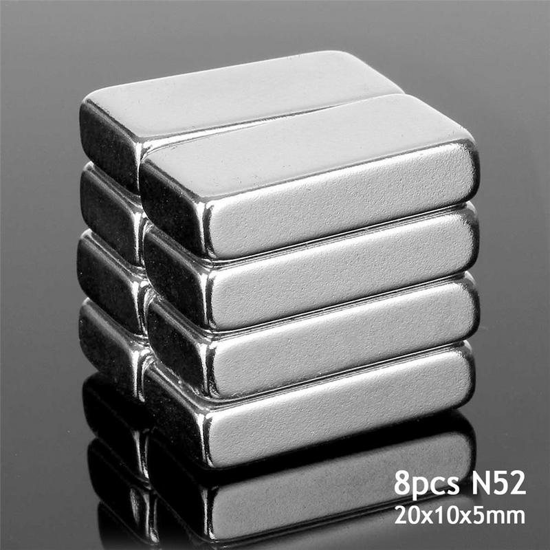 8pcs/set Cuboid N52 Neodymium Rare Earth Magnets Block 20x10x5mm Powerful For Magnetic Machinery