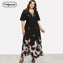 Pickyourlook Plus Size Women Dress Half Sleeve Summer Elegant Large Ladies Maxi Dresses Chinese Vintage V Robe Femme VestidosD40