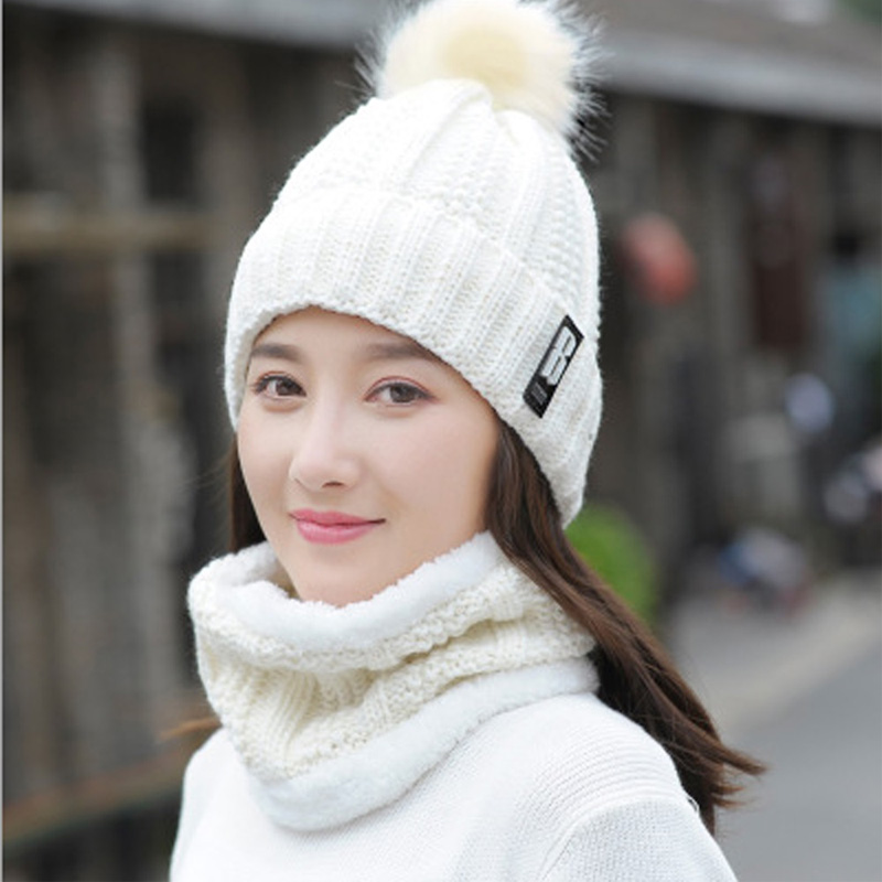 B letters knitted Hat Women Brand High Quality Winter Women Ball Ski Rabbit Fur Hat PomPoms Hats knitted scarf 2 Set