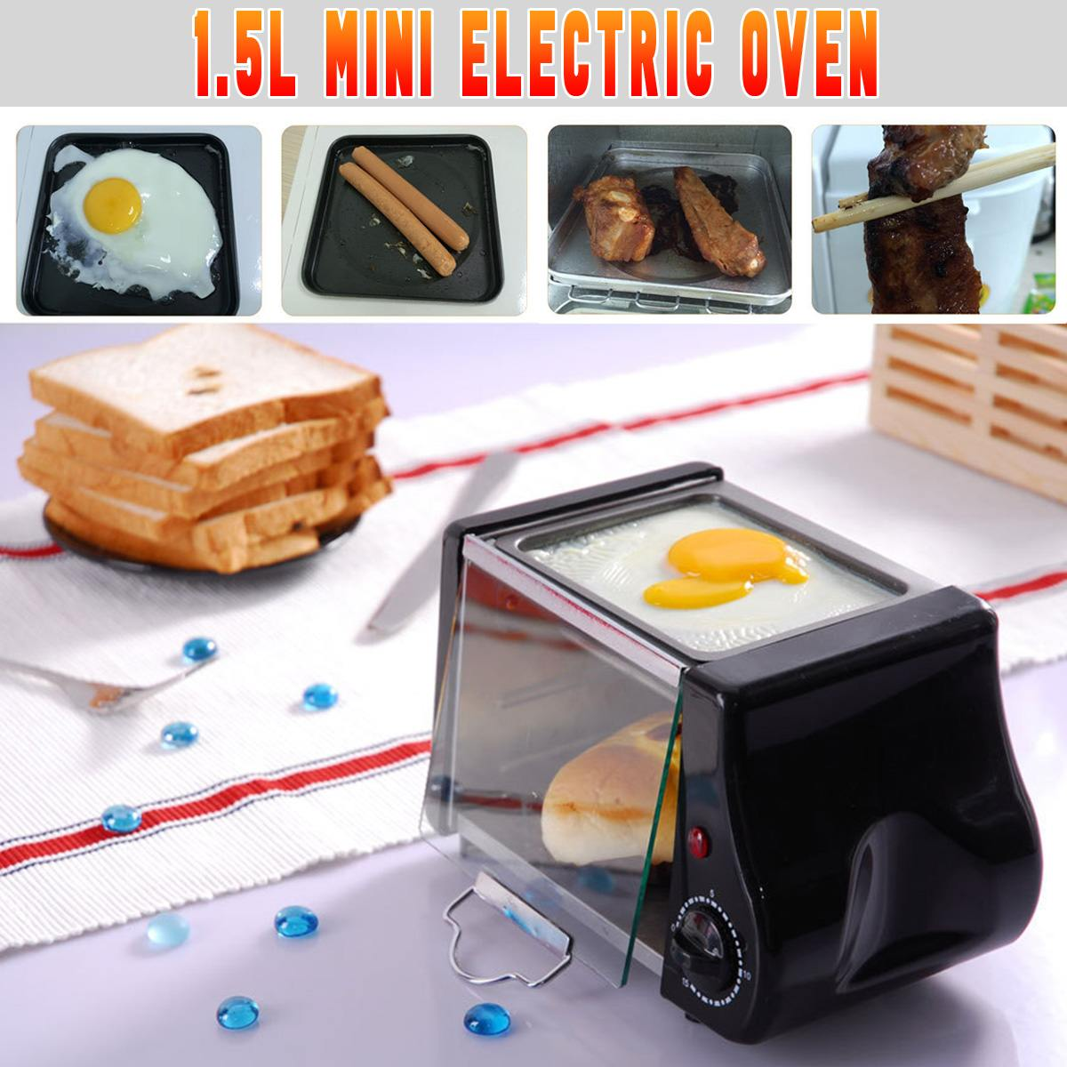 220 v/220W 2pcs Baking Pan 1.5L Mini Toaster Bread Electric Oven Baking Frying Pan Eggs Omelette Kitchen Pizzas Bread Fries Cake