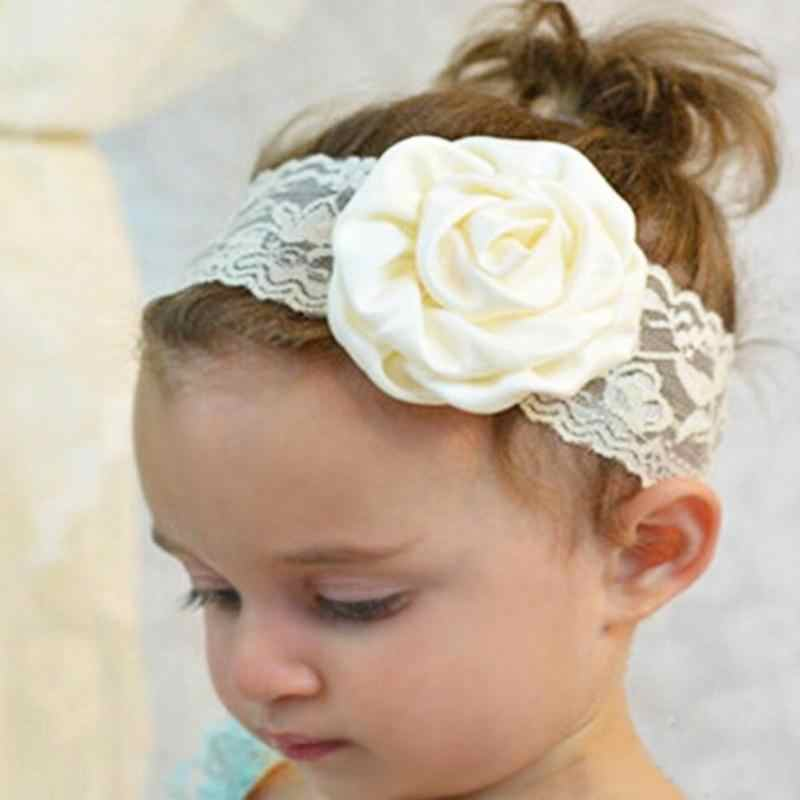Newborn Baby Girls Headband Big Rose Flower Lace Headbands Newborn Infant Party Elastic Hairband Baby Hair Accessories