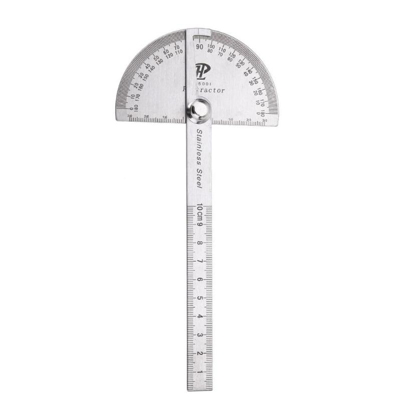 10cm 180 Degree Protractor Round Head Angle Measurment Angle Finder Rotary Stainless Steel Ruler Machinist Tool Craftsman