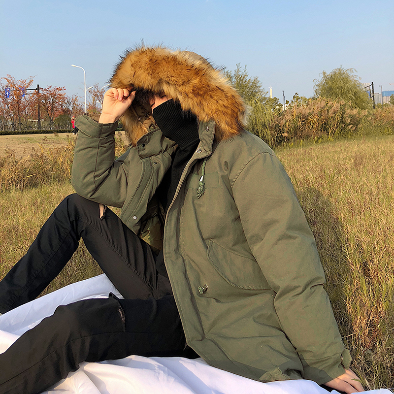 Male Long Fund Will Cotton padded Clothes Hair Lead Removable The Wind Leisure Time Cotton Youth Loose Coat H03 in Parkas from Men 39 s Clothing