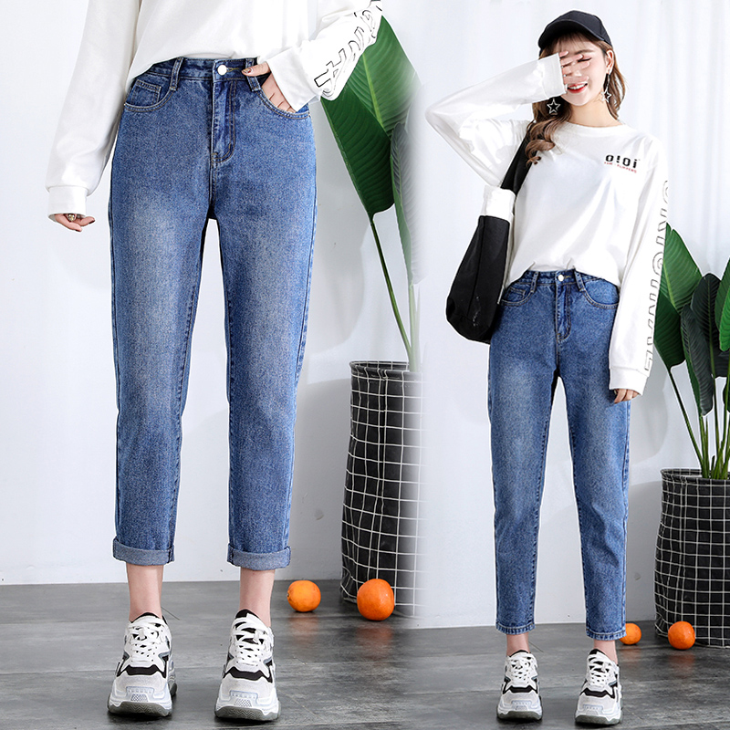 2019 New Spring And Autumn Plus Size High Waist Anke-Length Fashion Loose Denim Boyfriend Women   Jeans