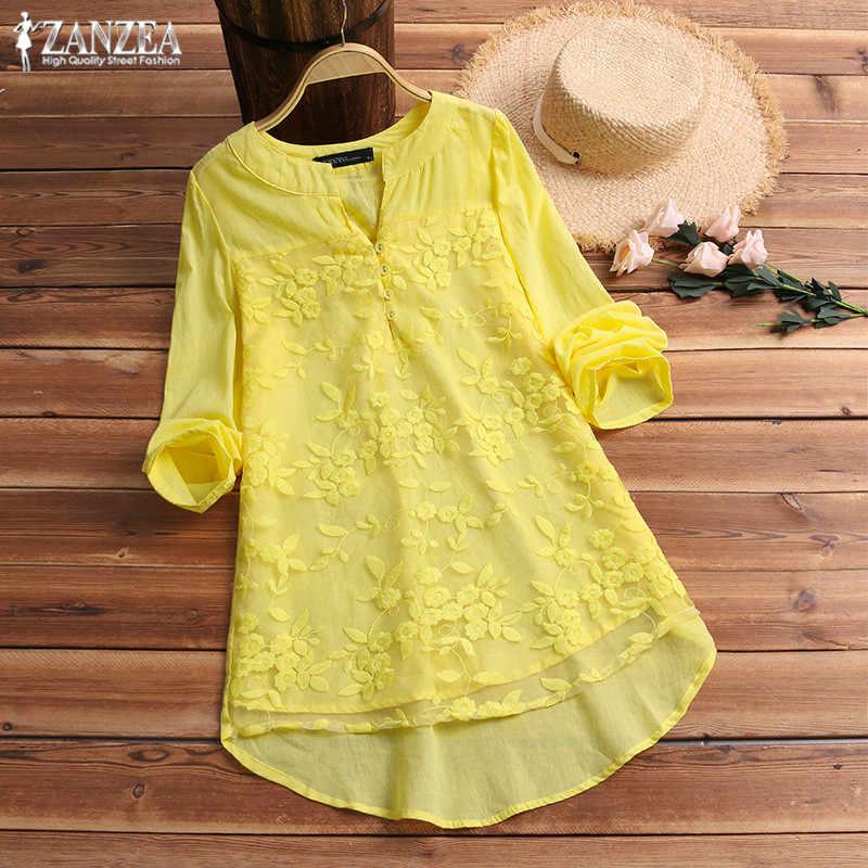 17aef9a406 ZANZEA Plus Size Tunic Tops Women Embroidery Blouse 2019 Fashion Female  Long Sleeve Party Shirt Lady