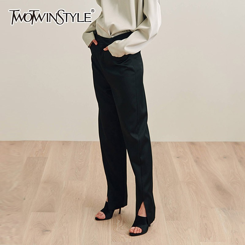 TWOTWINSTYLE Front Split Pencil Pants Women High Waist Black Casual Trousers Female with Pockets 2019 Spring