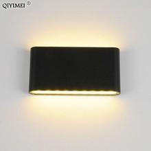 6w/12w led lâmpadas de parede ao ar livre impermeável branco/preto lâmpada interior conduziu a iluminação do corredor luz da escada para luzes cabeceira luminárias