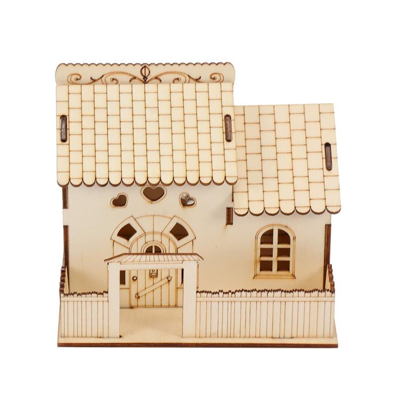 1 Pc Holz Villa Kleine Hof Sparschwein Holz Hause Dekoration Nachtlicht Geld Sparen Box Kaufen Sie Immer Gut